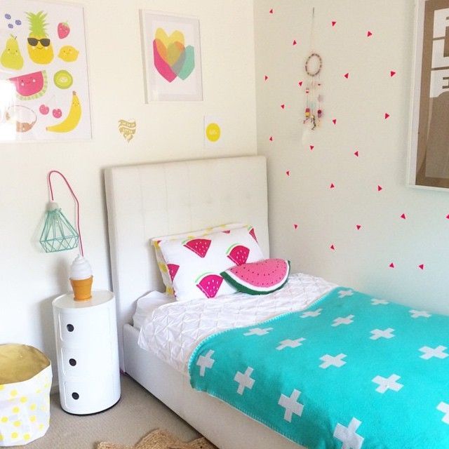 Our crochet watermelon cushion looking delicious here in @marciaplus5 daughters room! What a beautiful space to grow up in!! #crochetwatermelon #crochetcushion #watermeloncushion #watermelonpillow #girlsroom #pretty #kidsdecor #kidsinteriors #kidsroomideas #interiors #interiorstyling #instacrochet #luluandlo