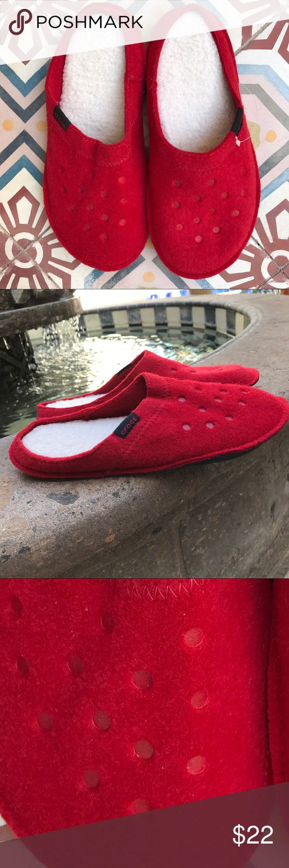 CROCS SLIPPERS SLIDES SLIP ONS SHOES SIZE 8 New.  Adorable and cozy.  Crocs slippers. Felt material with cozy footbed.  Never worn.  🤗🤗🤗BUNDLE AND SAVE. 🤗🤗🤗 CROCS Shoes Slippers