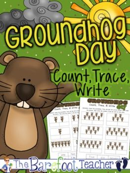 "Groundhog Day - Count, Trace & Write  These FREE practice sheets allow students a chance to practice counting and writing while they celebrate Groundhog Day! Make sure they trace the words first before pasting them, otherwise, you may have some tears from students trying to write over lumpy glue.   *Copy Tip - When using a photo copier, select the ""photo"" setting so that the colorful groundhogs will turn out a nice shaded picture, rather than a black blob!"