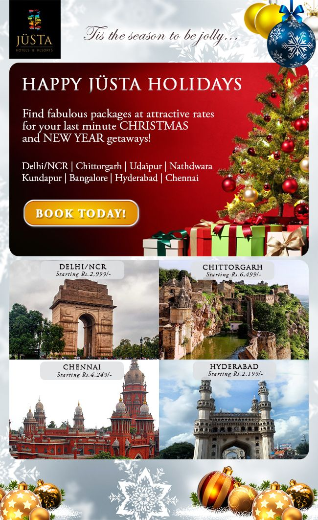 Checkout jüSTa holiday packages for the most popular winter destinations.   Visit:  www.justaholidays.com or contact: 9590 777 000 | reservations@justahotels.com