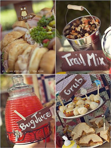 Camping or outdoor party ideas!: Birthday Parties, Food Ideas, Camping Themed, Camping Party Food, Camping Parties, Camping Birthday, Party Idea, Bugs Juice, Birthday Party