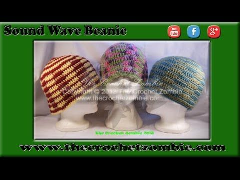 Sound Wave Beanie (Adult) | The Crochet Zombie