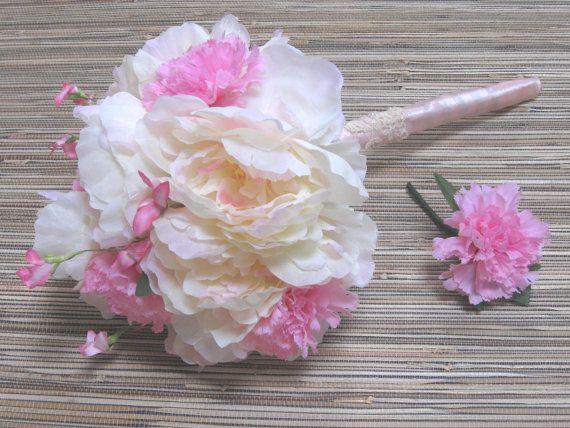 White Peony Bridal Bouquet Shabby Chic Wedding Spring Silk
