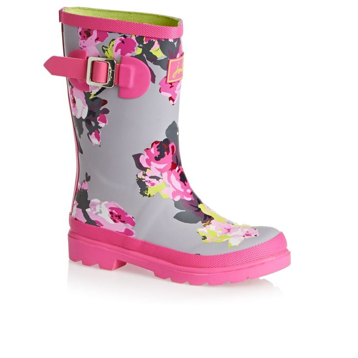 Joules Wellington Boots – Joules Girls Printed Welly – Grey Bloom