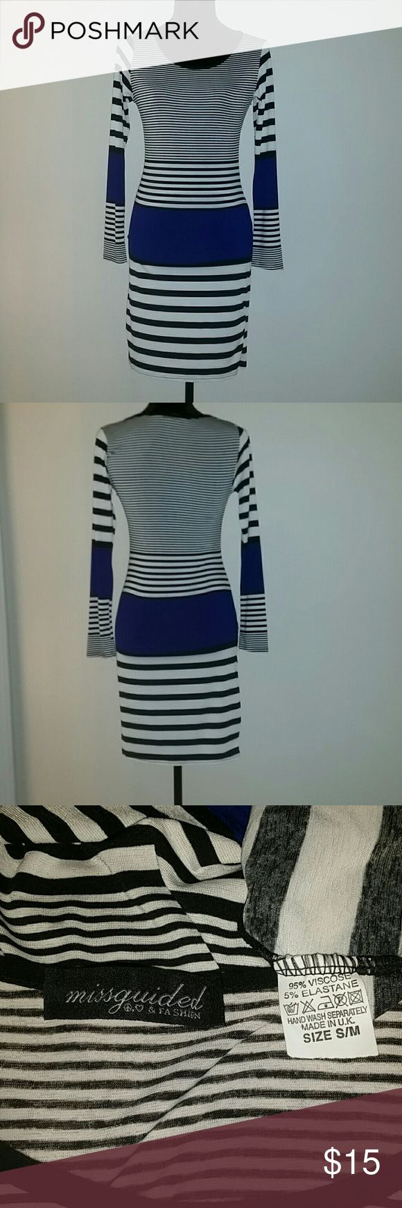 Black/White/Blue Bodycon Dress A Missguided original black and white striped Bodycon dress with navy blocks. Missguided Dresses