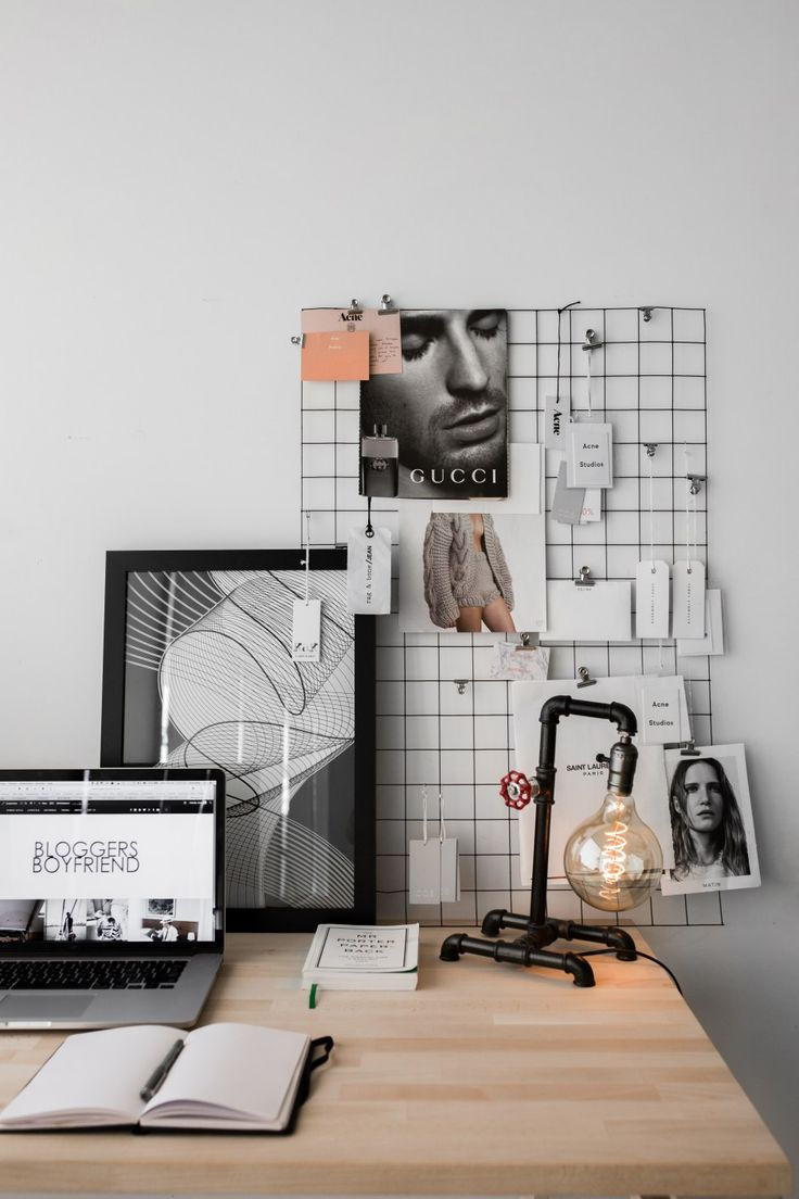 bloggersboyfriend.com http://instagram.com/Bloggers_Boyfriend Bachelor Desk Inspirations Desk Inspo  Men's Interior, Menstyle  Office space Home-office Mood board DIY, mesh frame, mesh wire, industrial warehouse pipe metal lamp, Edison bulbs, lighting, table arrangement minimal Scandinavian minimalism