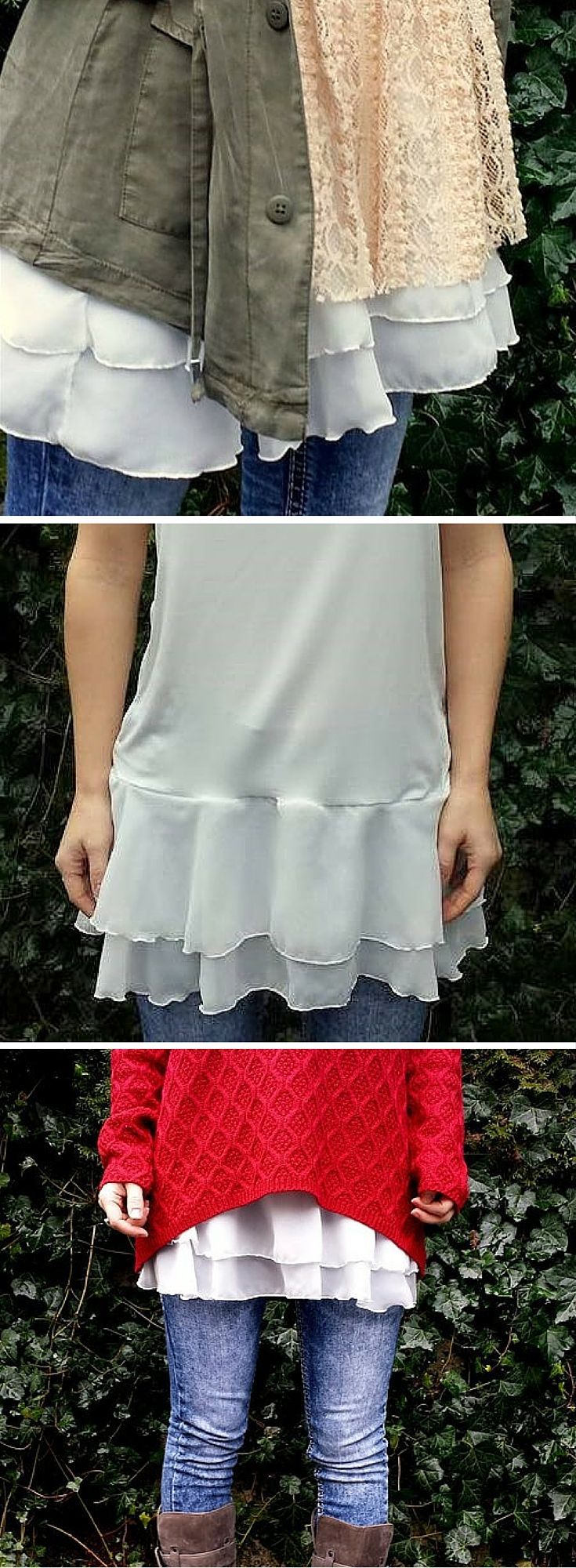 Camisole extender with chiffon. Could make this from an old tank top or camisole with any kind of frilly fabric at the bottom.