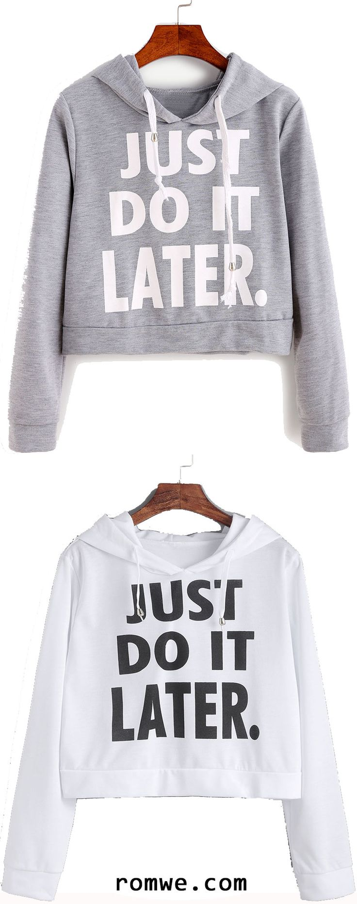 Letter Print Hooded Crop Sweatshirt