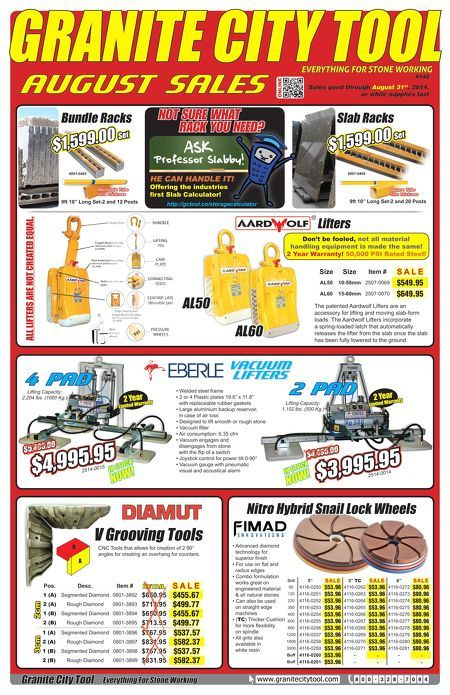 New August 2014 Fabrication Flyer. Bundle Racks, Slab Racks, Vacuum Lifters and so much more!
