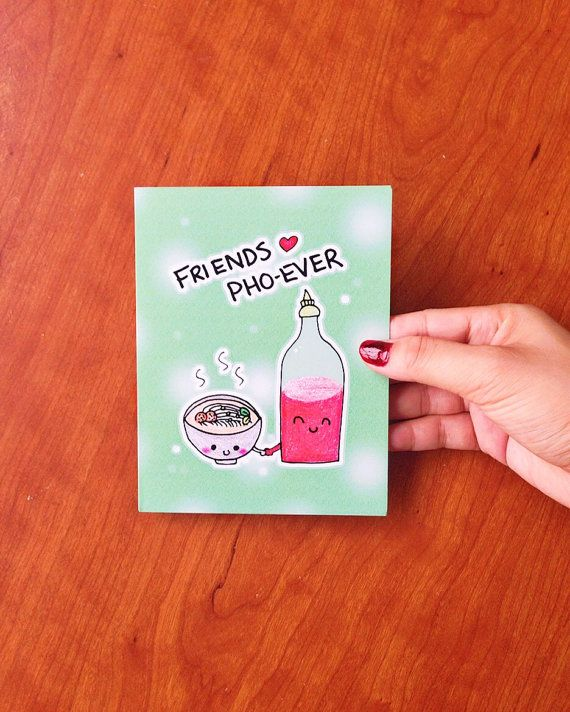 Best friend cards, best friend card, funny best friend card funny, card for best friend, funny card for friend, hand drawn card, pho card by LoveNCreativity