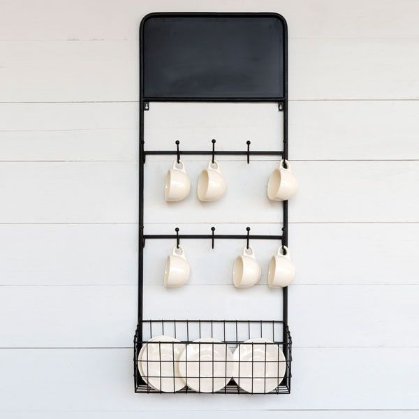 Wall Mounted Dish Rack with Chalkboard - Bistro Dish Rack