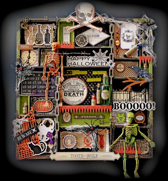 Layout: Halloween Altered Printer Tray **SCRAPS OF DARKNESS** October Kit-Mortica's Wish
