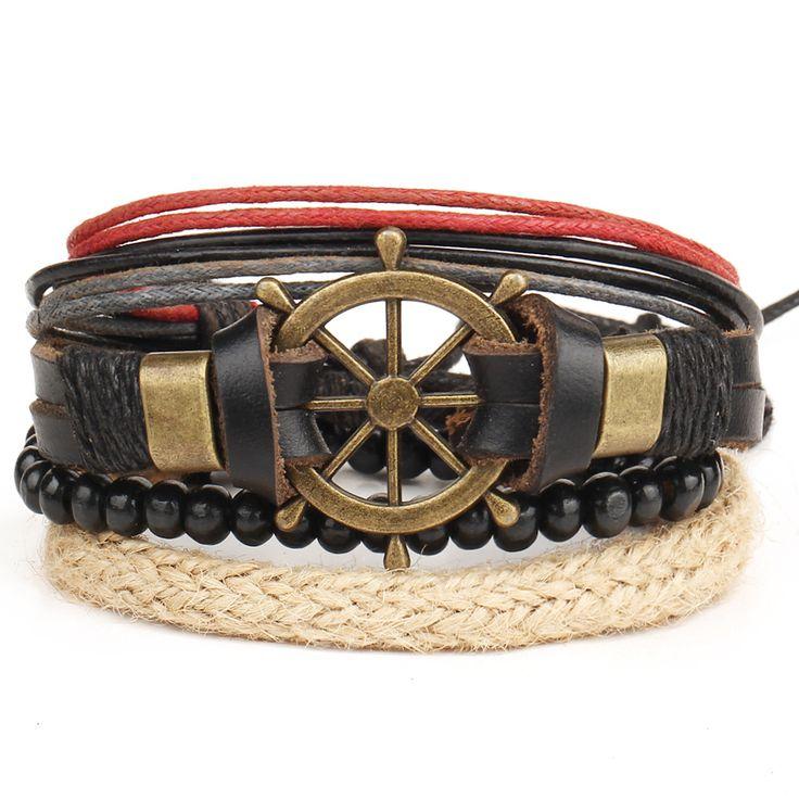 Rudder Anchor Hand Woven Multilayer Bracelet