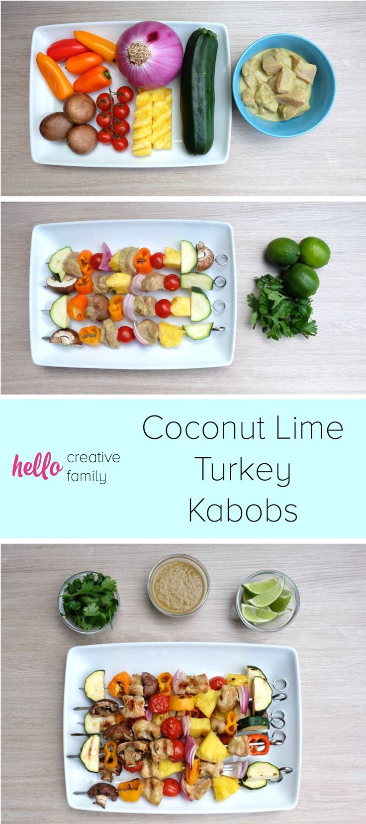 With flavors of lime, coconut, peanut and cilantro, this Coconut Lime Turkey Kabobs Recipe is a summer favorite. Throw it on the grill or BBQ and have a quick and easy dinner ready in minutes. Sure to be a family favorite.