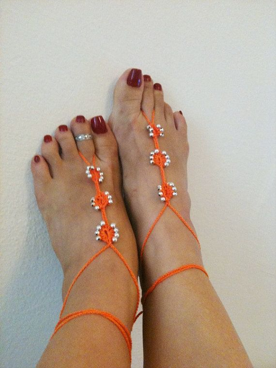 Orange  Barefoot Sandals with silvery   bead by ArtofAccessory, $15.00: Nude Shoes, Foot Jewelry, Barefoot Sandals, Orange Barefoot, Brown Barefoot, Silvery Beads, Feet Jewelry, Beach Wedding, Shoes Foot