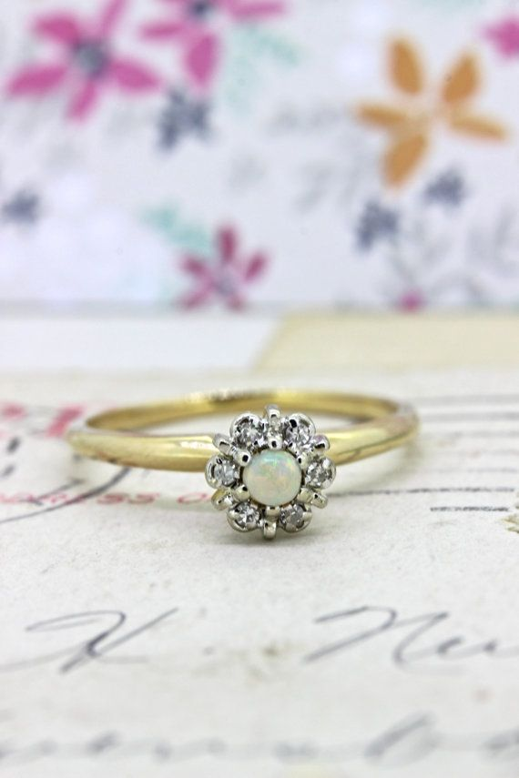 Vintage Opal Promise Ring | Non Traditional Engagement Ring | 14k Yellow Gold Diamond Ring | Dainty Gemstone Stacking Ring | Size 5.25 by FergusonsFineJewelry