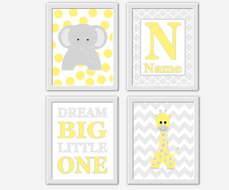 Baby Nursery Decor Yellow Gray Grey Elephant Giraffe Personalized Name Monogram Dream Big Little One Baby Boy Girl Nursery Prints Polka Dots Chevron Quatrefoil Safari Jungle Animal Prints