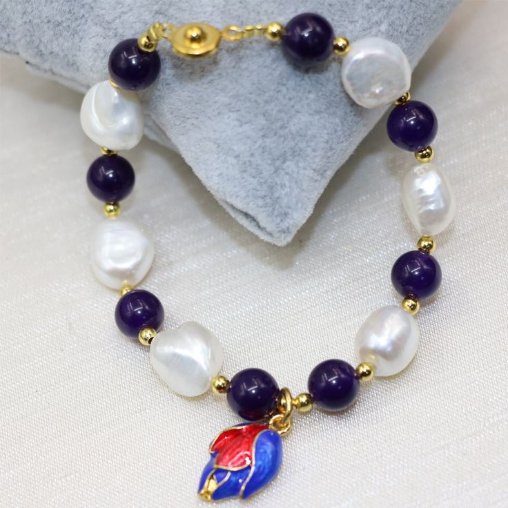 Fashion natural pearl white 12-14mm purple jade 8mm round beads charms bracelets for women cloisonne diy jewelry 7.5inch B3002