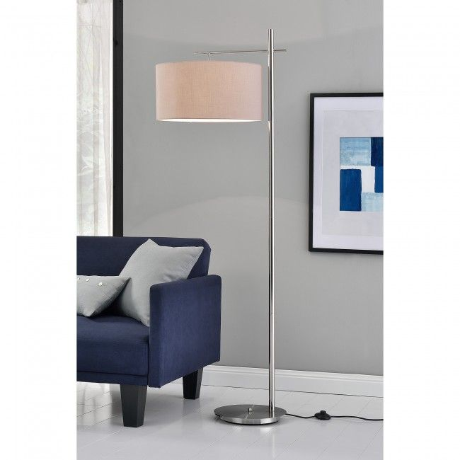 """[lux.pro[ Lámpara de pie """"London"""" - E27 / 60 W / 230 V - Gris-cromo (175cm - 46 cm) - clase energética A+++ - 46,70 €"""