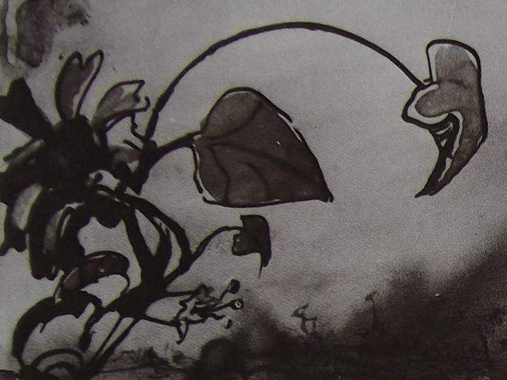 """Ce détail d'un dessin de Victor Hugo représente une fleur, des feuilles, au bout de leurs tiges, telles une allégorie du printemps mettant """"l'hiver en déroute"""" - Lié au poème """"Ordre du jour de Floréal"""" du recueil """"Les Chansons des rues et des bois"""" (Livre premier : Jeunesse - """"I. Floréal"""") de ce même Victor Hugo."""
