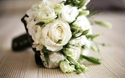 Scarica sfondi bouquet di nozze, rose, rose bianche, bouquet gratuito, un mazzo di rose