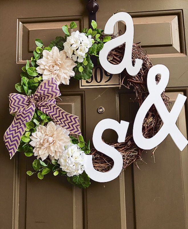 Two letter wreath  Home decor   Couple wreath   Apartment decor
