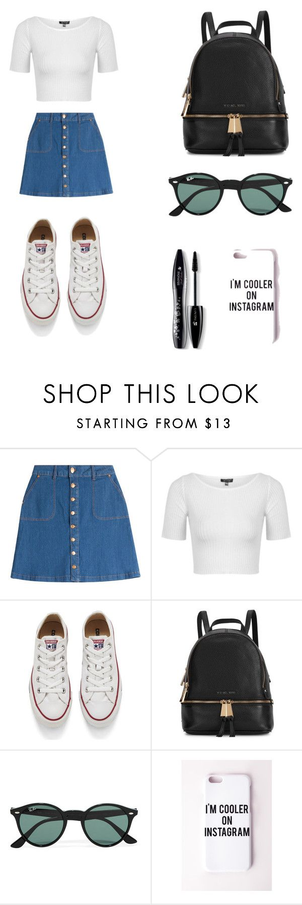 """casual outfit"" by nickplumber ❤ liked on Polyvore featuring HUGO, Topshop, Converse, Michael Kors, Ray-Ban, Missguided, Lancôme, women's clothing, women and female"