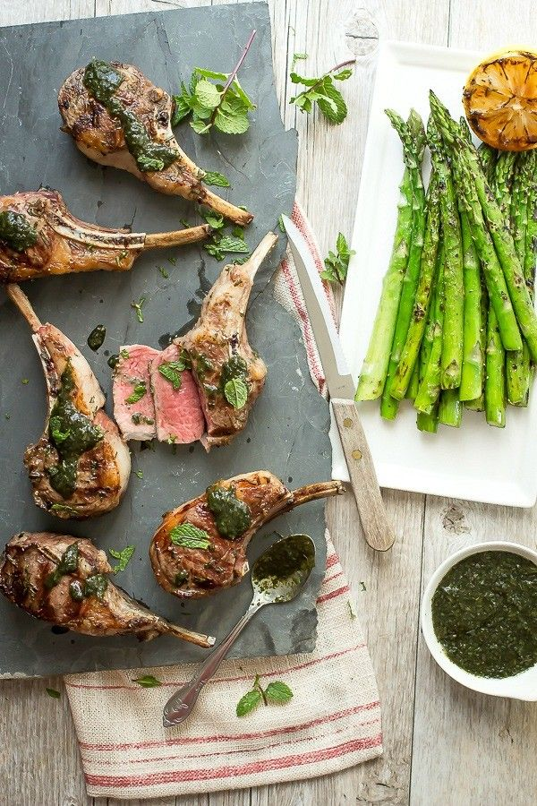Grilled Lamb Rib Chops with Mint Sauce - Foodness Gracious