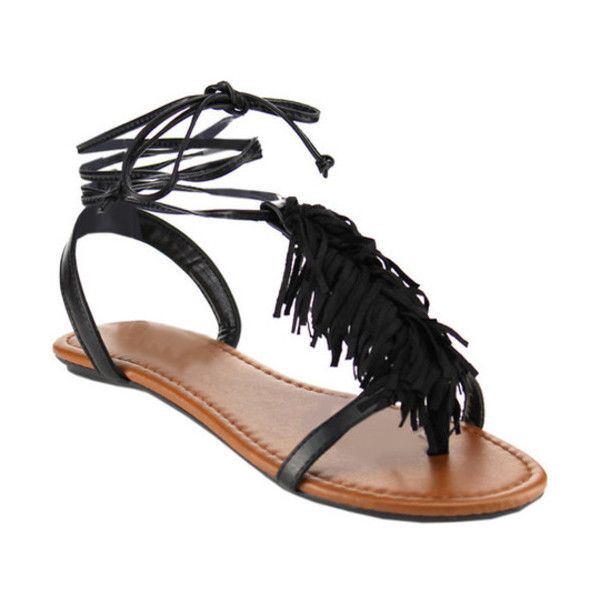 Women's Beston Rayna-S T Strap Sandal ($31) ❤ liked on Polyvore featuring shoes, sandals, black, casual, thong sandals, black fringe sandals, laced up flat sandals, lace up flat sandals and flat gladiator sandals