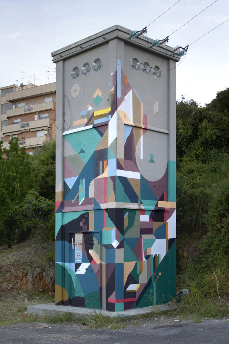 The fantastic work of Nelio Riga. Colourful organic shapes on public walls. Today i m sharing ten of his geometric street art pieces, visual paradise for our eyes and soul. Visit his Flickr page if… #art #streetart #nelio