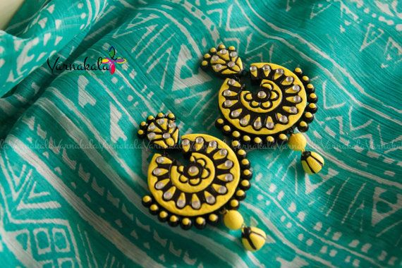 YELLOW & BLACK - Handmade Terracotta Clay Chandbali earring - 7.5cm long and big size earring with stone work