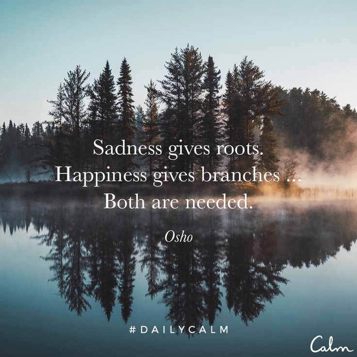 Sadness gives depth. Happiness gives height. Sadness gives roots. Happiness gives branches. ... Both are needed. That's its balance. —Osho