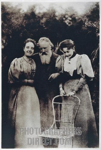 Austria , 19th century , Gmunden Johannes Brahms ( 1883 1897 ) with wife and daughter of Viktor von Miller zu Aichholz , 1890 . stock photo