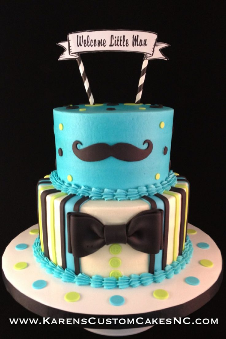 "Little Man themed baby shower cake. 8""+6"" buttercream cake w fondant decor."