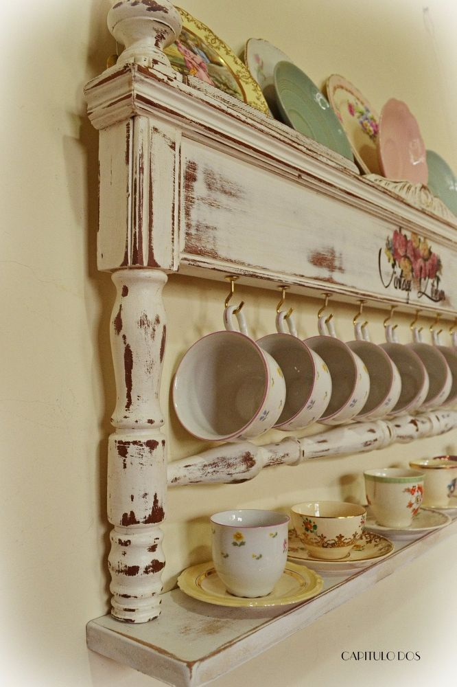 Footboard Repurpose ~ Kitchen Display for cups and saucers and dishes