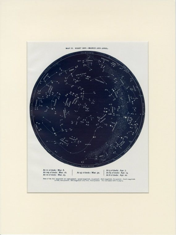 This is an antique map of the night sky from March 8 to April 22, representing the Pisces and Aries Zodiac sign. It is a lithograph and was published in London, C.1888. The map has fine detail and wonderful indigo ink coloration. Ready for display or framing, this piece is presented in a custom 12x16 antique ivory mat. Click below to view our full inventory of celestial and science prints similar to this one! https://www.etsy.com/shop/AntiquePrintBoutique?section_id=...
