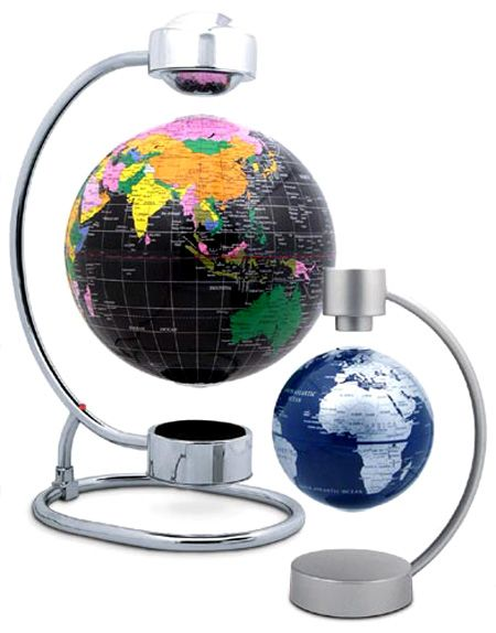 Interesting. This amazing levitating globe uses some very cool technology to keep the globe perfectly suspended in the air. It uses a magnetic field sensor which continually measures the height of its suspension - always wanted a floating globe...x
