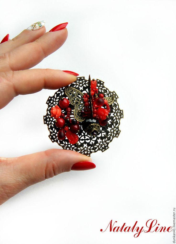 """Купить Брошь кольцо браслет обруч """"Осенний поцелуй"""" - бордовый, комплект украшений, винтаж"""
