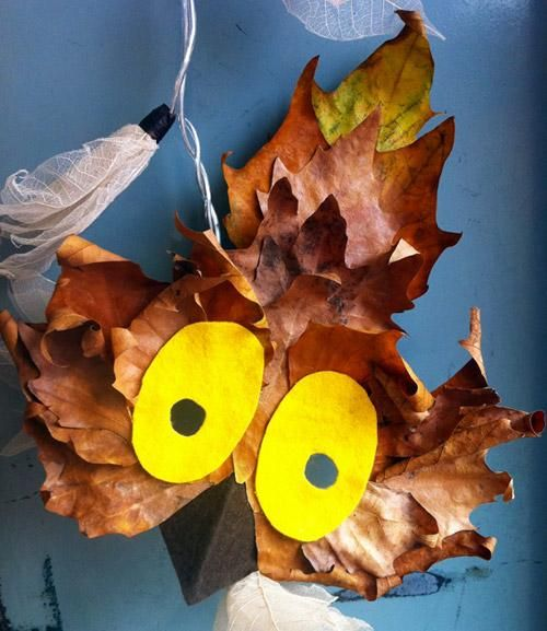 DIY Animal Costume : DIY: Owl Mask Made With Fall Leaves : DIY Halloween