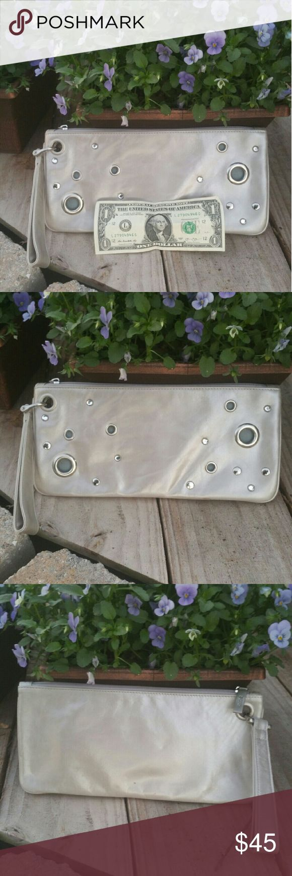 "HOBO Large Wristlet Clutch Silver Rhinestone Gromm HOBO Large Wristlet Clutch Silver Rhinestone Grommet great gently used condition. Measures 11"" X 5"" HOBO Bags Clutches & Wristlets"