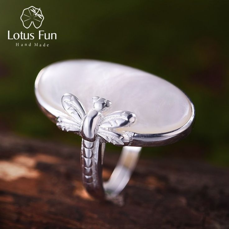 Lotus Fun S925 Sterling Silver Pendant Creative Dragonfly Design Natural Handmade Unique Jewellery for Women and Girls