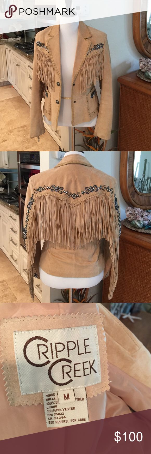 % Leather Western Jacket with Fringe an Beads Adorable 100% Leather Fringe Jacket. Western made. So Cute. I will Miss this one!! Cripple Creek Jackets & Coats Blazers
