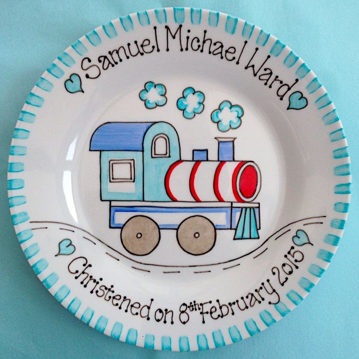 Copyright for this design belongs to Amanda Kilbride/www.bluebellecreate.co.uk. Under no circumstances can this design be recreated or copied in any form. Hand painted and personalised plate with train design. Ideal gift for christening day, baptism, naming day, 1st birthday or new baby. Available from www.bluebellecreate.co.uk