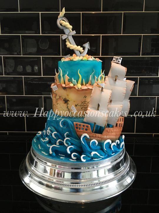 Tired Wedding Cake Wiht Boats