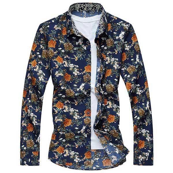 Mens Plus Size S-5XL Floral Printing Turn-down Collar Long Sleeve Casual Shirt Three Patterns at Banggood