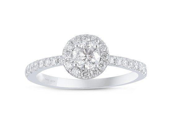 Diamond Studs Forever - Anello di fidanzamento in oro bianco 14K diamante GH/I1 1 Peso totale in carati CERTIFICATO IGI
