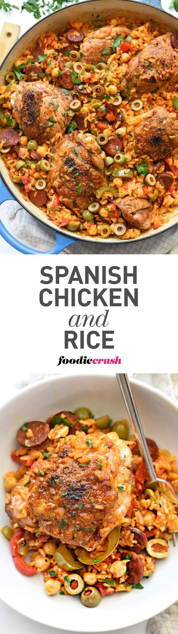 Chicken thighs are nestled in Spanish-flavored rice with Spanish chorizo, green olives, and garbanzo beans for the ultimate one-pot meal | foodiecrush.com