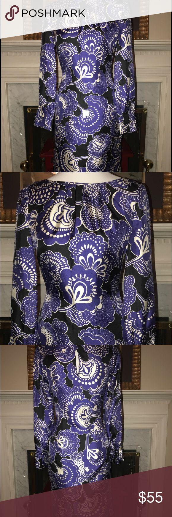 BANANA REPUBLIC SILK DRESS SIZE 0 BEAUTY!! EUC BANANA REPUBLIC Silk Dress Sz. 0 purple paisley charmer. Sleeve cuff is stunning with button detail. Banana Republic Dresses