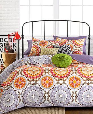 Marigold 3 piece comforter and duvet cover sets purple - Orange and purple bedding ...