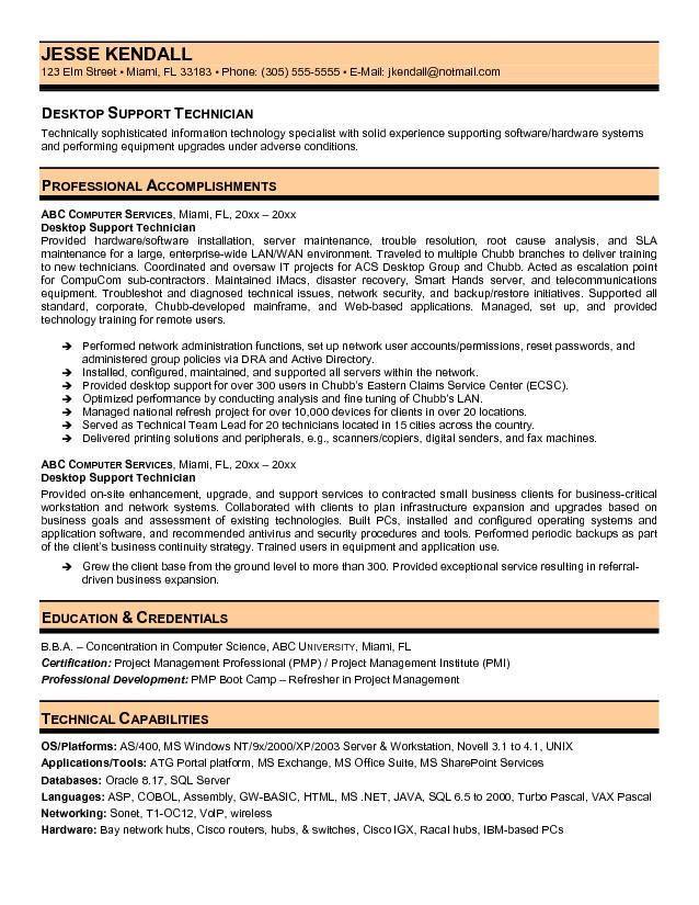 Desktop Support Intern Resume - Specialist's opinion